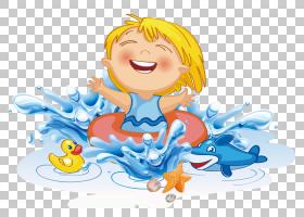 游泳卡通,幸福,卡通,微笑,鼻子,播放,男孩,蓝色,水上公园,游泳池,