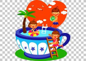 夏季游泳,面积,娱乐,播放,卡通,游泳池,孩子,夏天,