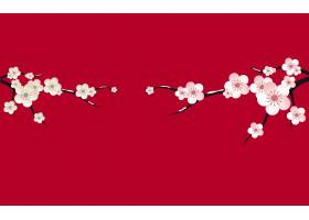 梅花树枝中国风装饰元素花纹边框底纹设计