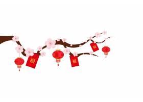 梅花树枝灯笼中国风装饰元素花纹边框底纹设计