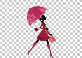伞卡通,红色,洋红色,服装设计,雨伞,粉红色,时尚,女性,绘画,剪影,图片