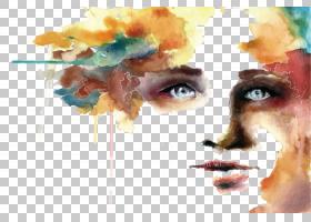 女人脸,现代艺术,鼻子,嘴,油漆,脸,丙烯酸涂料,睫毛,水彩画,肖像,