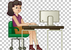 女卡通,家具,技术,椅子,表,作业,专业,坐着,后台办公室,书桌,办公