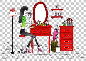 女卡通,家具,线路,表,时尚,女性,女人,卡通,绘图,化妆品,