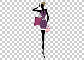 女卡通,洋红色,服装设计,关节,时装设计,波尔卡点,紫色,时尚模特,