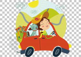 旅行女性,卡通,蹒跚学步的孩子,黄色,播放,面积,玩具,运输,宠物,