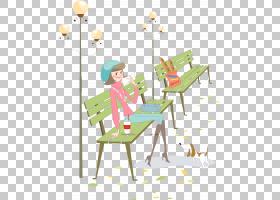 浅绿色背景,家具,线路,表,绿色,播放,剪影,坐着,卡通,路灯,公园,