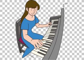 钢琴卡通,技术,键盘,坐着,乐器,音乐键盘,大钢琴,女人,演奏者钢琴