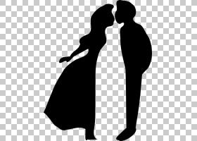 女孩之吻,爱,手势,黑白,绘图,女人,卡通,剪影,男孩,接吻,女孩,