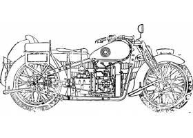 复古单色摩托车外形轮廓装饰插画