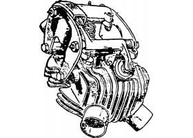 复古单色摩托车发动机配件装饰插画