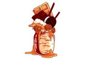 手绘卡通玻璃杯装刨冰雪糕甜品主题装饰插画设计