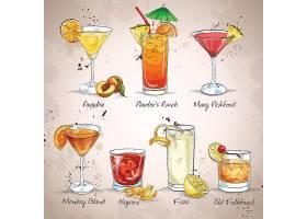 手绘创意香槟鸡尾酒果汁饮料主题装饰插画设计