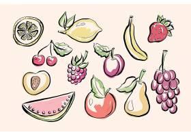 手绘水果主题插画无缝装饰背景