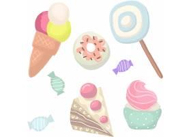 手绘冰激凌甜品主题插画无缝装饰背景