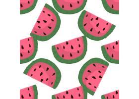手绘西瓜水果主题插画无缝装饰背景