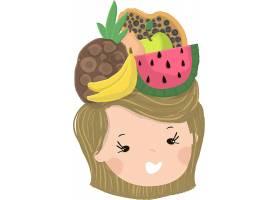 手绘可爱的卡通人物水果主题头饰插画设计