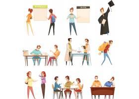 现代大学生生活考研主题插画设计