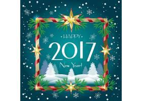 冬季圣诞节2017新年快乐装饰标签设计