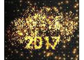 闪光璀璨2017新年快乐装饰标签设计