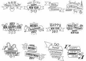 手写创意卡通2017新年快乐圣诞节主题标签设计