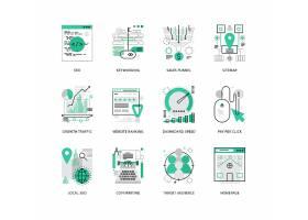 创意多款线条简洁的互联网信息主题图标UI设计