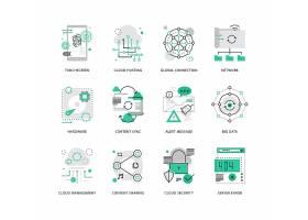 创意多款线条简洁互联网安全主题图标UI设计