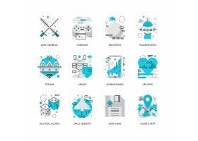 创意多款线条简洁游戏娱乐主题图标UI设计