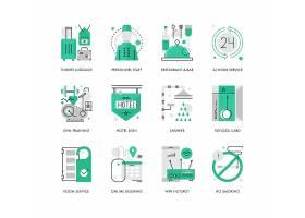 创意多款线条简洁旅行与酒店主题图标UI设计