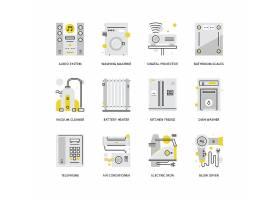 创意多款线条简洁家庭电器主题图标UI设计