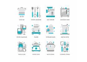 创意多款线条简洁厨房用品主题图标UI设计