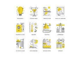 创意多款线条简洁休闲度假主题图标UI设计