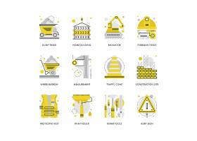 创意多款线条简洁施工安全主题图标UI设计