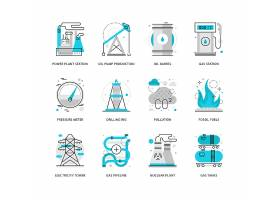 创意多款线条简洁电能化工主题图标UI设计