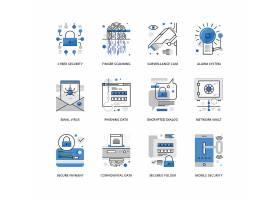 创意多款线条简洁互联网信息安全主题图标UI设计