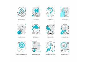 创意多款线条简洁智能大脑主题图标UI设计