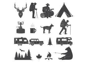 灰色复古露营森林主题图标徽章LOGO设计