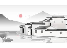 古镇地标建筑矢量场景插画素材