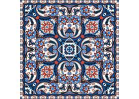 高清蓝色红色中国风花纹壁纸背景图