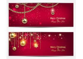 圣诞节金色彩球节日气氛装饰标签