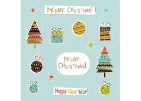 剪纸风格可爱的圣诞节日气氛装饰元素