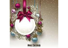 圣诞节矢量彩带花灯花球装饰元素插画标签设计