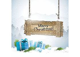 冬季圣诞节平安夜礼物送礼促销装饰插画设计