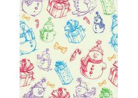 圣诞节主题元素无缝装饰背景图案
