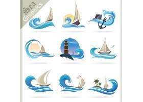 海洋船锚游轮帆船主题LOGO徽章图标设计