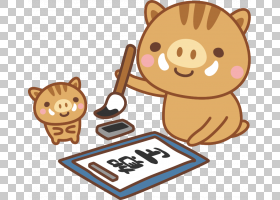 日本年卡公猪,食物,日本文化,狗,心能开,2019年,Kakizome,年卡,新图片