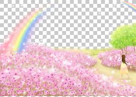 粉红色花卡通,线路,草,洋红色,花,花瓣,紫色,植物群,粉红色,海报,
