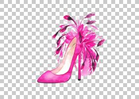 粉红色花卡通,高跟鞋,羽毛,洋红色,鞋类,户外鞋,花瓣,花,粉红色,