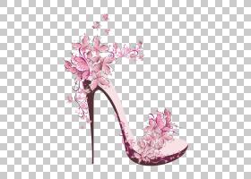 粉红色花卡通,高跟鞋,花卉设计,洋红色,鞋类,凉鞋,户外鞋,花瓣,丁