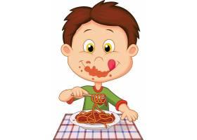吃面的卡通男孩主题时尚矢量素材装饰素材